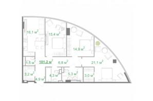 БФК Intergal City: планировка 3-комнатной квартиры 101.1 м²