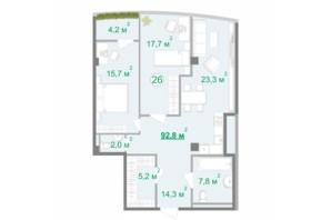 БФК Intergal City: планировка 2-комнатной квартиры 93.2 м²