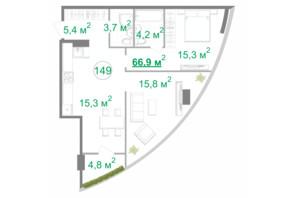 БФК Intergal City: планировка 2-комнатной квартиры 66.9 м²