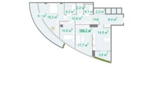 БФК Intergal City: планировка 2-комнатной квартиры 104.4 м²