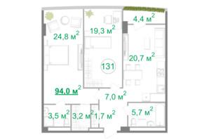 БФК Intergal City: планировка 3-комнатной квартиры 94 м²
