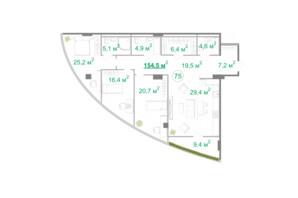 БФК Intergal City: планировка 3-комнатной квартиры 156.2 м²