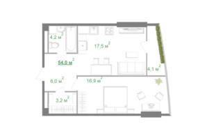 БФК Intergal City: свободная планировка квартиры 53.5 м²