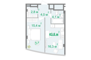 БФК Intergal City: планировка 1-комнатной квартиры 43.8 м²