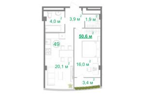 БФК Intergal City: планировка 2-комнатной квартиры 50.6 м²
