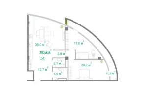 БФК Intergal City: планировка 2-комнатной квартиры 101.6 м²