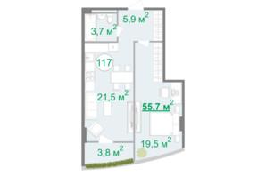 БФК Intergal City: планування 1-кімнатної квартири 45.7 м²