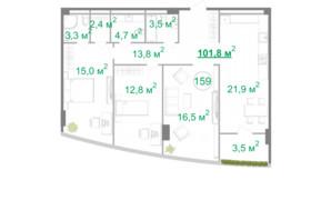 БФК Intergal City: планування 3-кімнатної квартири 101.6 м²