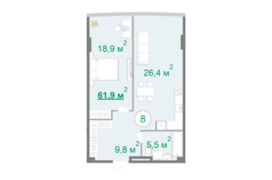 БФК Intergal City: планування 1-кімнатної квартири 61.9 м²