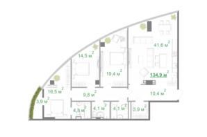 БФК Intergal City: планування 3-кімнатної квартири 137.1 м²