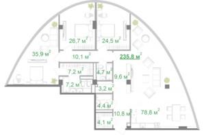 БФК Intergal City: планування 3-кімнатної квартири 235.9 м²