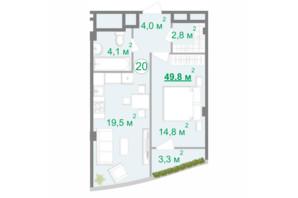 БФК Intergal City: планування 1-кімнатної квартири 49.4 м²