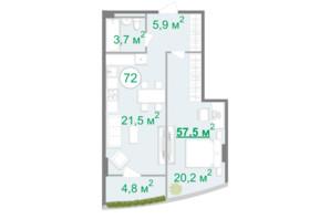 БФК Intergal City: планування 1-кімнатної квартири 57.6 м²