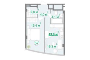 БФК Intergal City: планування 1-кімнатної квартири 43.8 м²