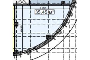 БЦ Idm Mall: планировка помощения 35.45 м²