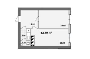 БЦ Kadorr City: планування приміщення 42.49 м²