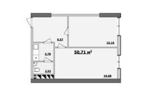 БЦ Kadorr City: планування приміщення 50.71 м²