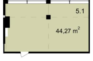 Бізнес Центр Q-5  Quoroom Office Metropol: планування приміщення 44.27 м²