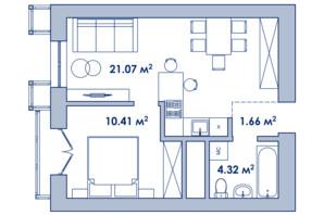 Городок Ривьера Сити: планировка 1-комнатной квартиры 38.4 м²