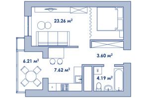 Городок Ривьера Сити: планировка 1-комнатной квартиры 39.6 м²