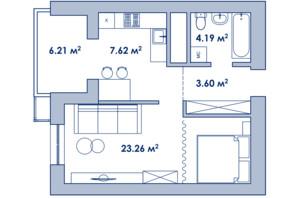 Городок Ривьера Сити: планировка 1-комнатной квартиры 44.1 м²