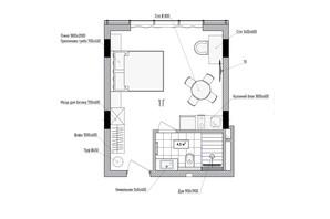 КА Le Meandre: планування 1-кімнатної квартири 28.72 м²