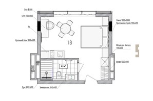 КА Le Meandre: планування 1-кімнатної квартири 25.91 м²