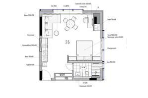 КА Le Meandre: планировка 2-комнатной квартиры 43.37 м²