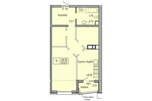 КА Олимпийский: планировка 1-комнатной квартиры 65.67 м²