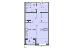 КА Олимпийский: планировка 1-комнатной квартиры 65.82 м²