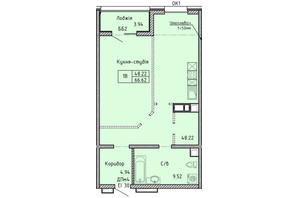 КА Олимпийский: планировка 1-комнатной квартиры 66.62 м²