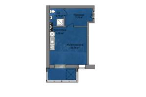 КБ Березинський: планування 1-кімнатної квартири 37.39 м²