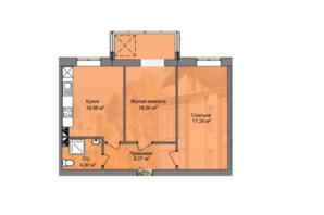 КБ Березинський: планування 2-кімнатної квартири 60.11 м²