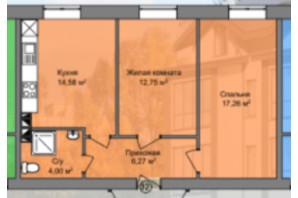 КБ Березинський: планування 2-кімнатної квартири 54.86 м²