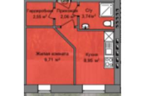 КБ Березинський: планування 1-кімнатної квартири 27.01 м²