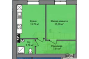 КБ Березинський: планування 1-кімнатної квартири 40.53 м²