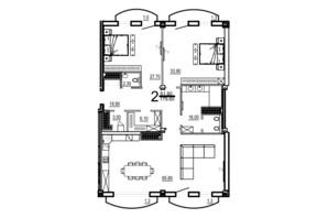 КБ Бiаррiц: планування 2-кімнатної квартири 179.6 м²