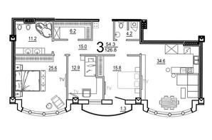 КБ Биарриц: планировка 3-комнатной квартиры 126.8 м²