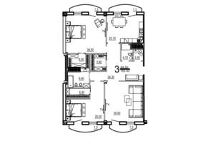 КБ Биарриц: планировка 3-комнатной квартиры 155.4 м²
