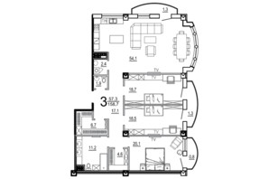 КБ Биарриц: планировка 3-комнатной квартиры 158.7 м²