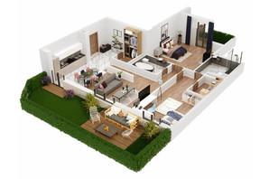 КБ Корона Ренесансу: планування 3-кімнатної квартири 128.13 м²