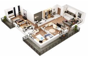 КБ Корона Ренесансу: планування 3-кімнатної квартири 140.73 м²
