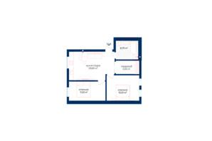 КБ Liverpool House: планування 2-кімнатної квартири 56.23 м²