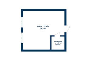КБ Liverpool House: планування 1-кімнатної квартири 29.93 м²