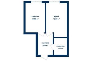 КБ Liverpool House: планування 1-кімнатної квартири 34.09 м²