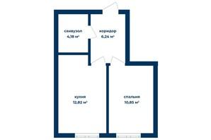 КБ Liverpool House: планування 1-кімнатної квартири 32.62 м²