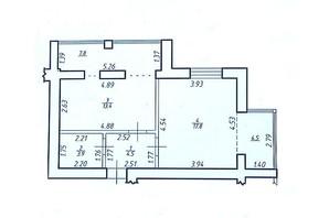 КБ по вул. Миру 58: планування 1-кімнатної квартири 51.7 м²
