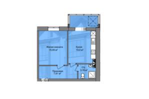 КД Березинский: планировка 1-комнатной квартиры 45.78 м²
