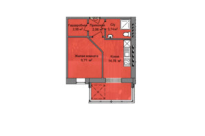 КД Березинский: планировка 1-комнатной квартиры 32.85 м²