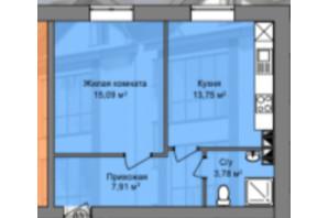 КД Березинский: планировка 1-комнатной квартиры 30.26 м²